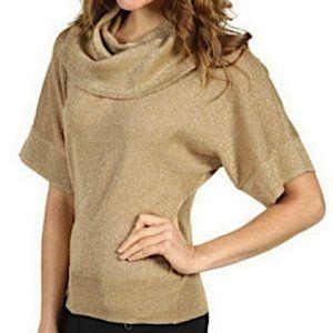 Michael Kors Metallic Gold Cowl-neck Sweater